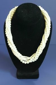 Pearl Necklace Chunky 6 Strands Rope Twist Formal